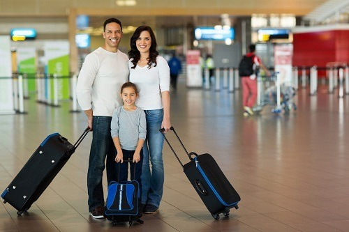 Family Traveling With Luggage Set
