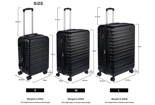 AmazonBasics Hardside Luggage Set Dimensions